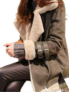 Cappotti di inverno gira giù caldo spesso del rivestimento del cappotto delle donne di pelle scamosciata rivestimento di cuoio Agnello Designer