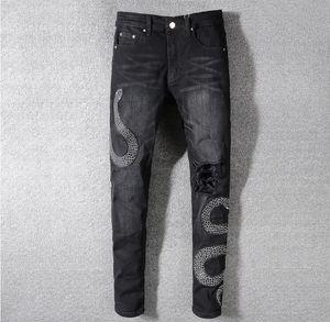 Mens Emblema Snake twine Preto Skinny Jeans Designer de Moda Afligido Slim Fit Motociclista Buraco Mendigo Hip Hop Denim Calças 567