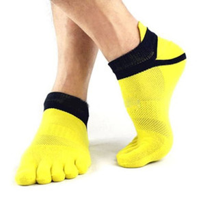 6 paires / Lot Hommes chaussettes en coton pur Toe Five Finger Chaussettes respirantes Chaussettes de sport pour hommes Mesh respirant