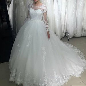 Custom Arabic Long Sleeves Lace Ball Gown Wedding Dresses Jewel Neck Appliqued Beads Sash Tulle Sweep Train Bridal Wed Gowns