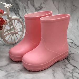 Kinder Junge Mädchen Gummistiefel Fest für Kinder Wasserdichte Säuglingsbaby-Kleinkind-rainshoes Qualitäts-Regen-Stiefel Rosa Gelb Himmelblau