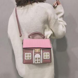 Дизайнер-Женщины Hasp Наплечные Сумки Творческий Странный Дом Кошелек Наплечная Сумка Сумка Маленькая Квадратная Сумка Посыльного Bolso Mujer #T