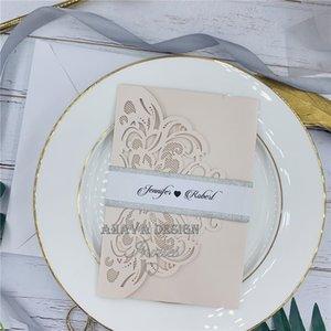 Blush Настраиваемый лазерный вырезать три-разные свадьбы пригласить с ответной картой и конвертом, пригласить на свадьбу, день рождения