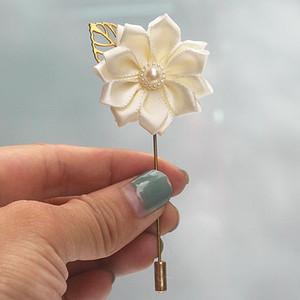 Marfim атласной Цветочницы Groom Pin корсаж цветок De Mariage Golden Leaf Люкс Свадебный корсаж брошь для Man Suit