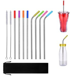 "stainless steel straw straight and bent 8.5""  9.5""  10.5"" reusable drinking straw with processed nozzles kitchen"