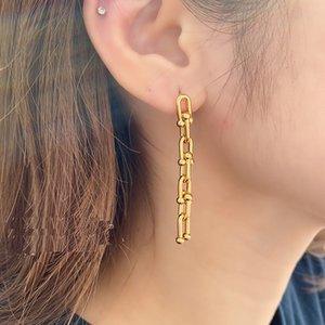 Neue Marken-Frauen-Ohrringe Weinlese-Metall U Ketten-Bolzen-Ohrringe für Frauen Goth Schmuck Punk weiblichen Kette Quaste Ohrringe Anhänger Bijoux 2020