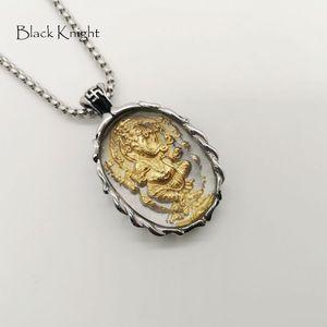 Cavaleiro preto 2 tom de aço inoxidável Ganesha pingente de colar de vidro amuleto Ganesha colar de jóias BLKN0771