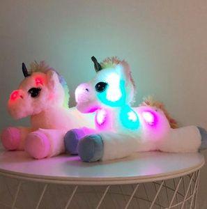 40cm LED Licorn Peluche Jouets Éclairage Animaux en peluches Licorne, Jouet mignon Luminous Soft Poupet Poupée Soft pour Kid Girl Xmas Anniversaire Cadeau d'anniversaire