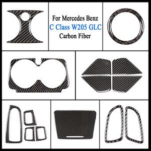 Maniglia di portello ciotola di copertura in fibra di carbonio vetrofania Interni elettrico di sollevamento Interruttore Coperchio pulsante Trim per Mercedes-Benz Classe C W205 GLC