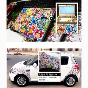 100PCS Мотоциклы Автомобильные наклейки водонепроницаемый Съемный вагонетки Box Переводные картинки граффити