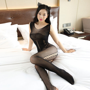 Nouveau Sexy Femmes Résille Bodystocking Crotchless Lingerie Collants De Nuit Body Noir Manches Collants Érotique Bas Bonneterie