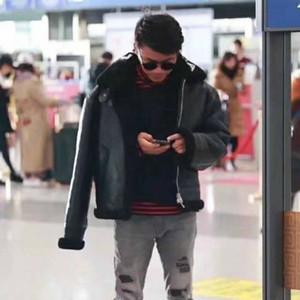 Мода пальто Мужского отворота Letters ЛОГОС Fur Zipper Leather Jacket Black Jacket Mens качества Высокой моды Теплых пальто HFWPJK107