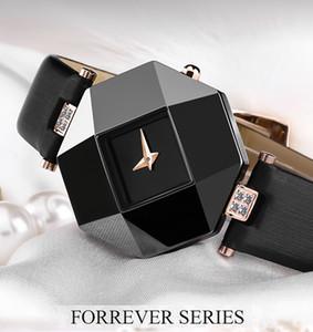2019 luxo mulheres venda quente assistir New Fashion Women Dress Relógios caso de cerâmica Correia de couro Relógio Feminino Lady Quartz Relógio de pulso BRW