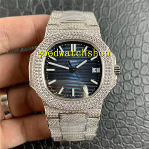R8 V2 Nautilus 5719 diamante para hombre del reloj del reloj mecánico automático Cal.324SC zafiro de 18 quilates de platino de acero 316L Súper luminoso impermeable