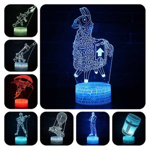 Fortnight 7 Colori Cambio Tavolo Lampada da tavolo Usb Fortniting Led Action Figure Alpaca Light Up Giocattoli luminosi per bambini C19041501