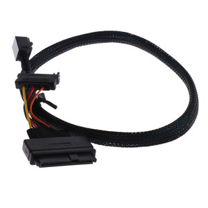 0.5m 1.5ft Mini SAS HD SFF-8643 to U.2 SFF-8639 Cable Cord with SATA power