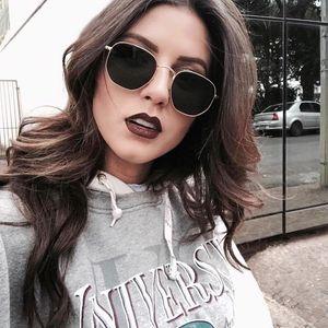 2020 Óculos De Sol De Luxo Mulheres Óculos De Marca Óculos De Sol Senhoras Lentes Polígonos Óculos De Sol Mulheres Óculos De Metal Preto Vintage