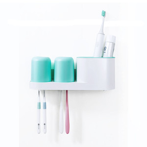 Toothbrush Toothpaste Holder Set with 2 Cups Bathroom Storage Organizer Rack No Drill Wall Mount   Countertop Stand 2 Colors