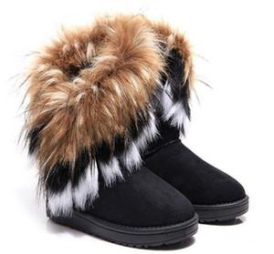 2019 женщин сапоги осень и зима снег сапоги перья меха лисы с плоским дном короткий хлопок-мягкие туфли зимние сапоги рождественский подарок