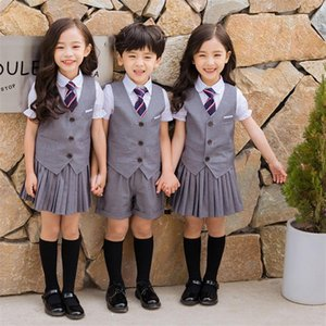 Newly Children School Uniform Top Pleated Skirt Vest Class Uniforms Korean Style Performance Suit Boys Girls Stage Wear