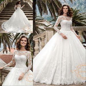 Qualitäts-Applikationen Tüll mit langen Ärmeln Brautkleid Korsett Robe De Mariee Graceful Prinzessin A-Linie Brautkleider 2020 New