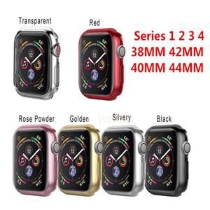 Cubierta de la caja protectora para Apple Watch band 42mm 38mm 44mm iwatch series 4/3/2/1 Casos coloridos enchapados Shell Accesorios