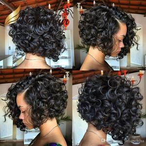 Bob corto cortó peluca de encaje completo cabello humano Bob larga con parte lateral pelucas frontales de encaje para mujeres negras pelo bella
