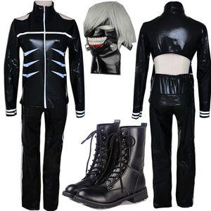 Costumi Costumi Tokyo Ghoul Cosplay Kaneki Ken Cosplay con cappuccio Giacche Nero Lotta Uniforme insieme completo con la mascherina
