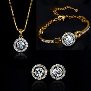 Kadınlar Takı Hediyesi için Zirkon Kristal Kolye Bileklik Küpe Takı Seti Altın Gümüş Pembe Altın Renk Düğün Bildirimi Kolye Setleri