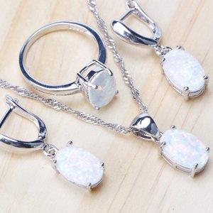 Стерлингового серебра 925 пробы опал камень свадебные наборы ювелирных украшений серьги для женщин бижутерия кулон ожерелье кольцо набор подарочная коробка CX200623