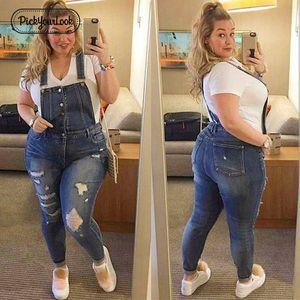 Pickyourlook Kadınlar Artı Boyutu Tulum Denim Tulum Mavi Moda Kayış Bayan Bodysuit Backless Büyük Boy Kadın Vücut Tulum Y19071701