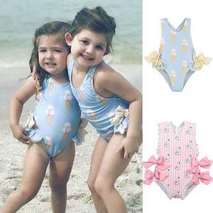 Розничная продажа новорожденных девочек красивая одежда для плавания костюмы прекрасный фламинго мороженое медведь жираф купальники Детская мода купальники E10002