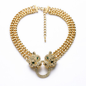 Fashion big leopard head necklace