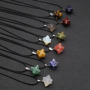 Retro Merkaba Chakras pingentes colares Pedra Natural Chakra Reiki Estrela cura Ponto Opal Quartz Agates colares Mulheres Male