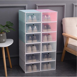 Faltbare Klar Schuh-Aufbewahrungsbehälter verdicken Kunststoff stapelbare Schuhe Organizer Box Stacking Platzsparend Staubdichtes Box IIA113