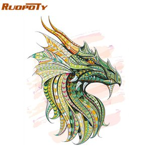 RUOPOTY Frame Dragon DIY Painting By Numbers Animals Modern Wall Art Picture Paint By Numbers Kit Picture Inicio Decoraciones