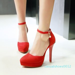 Summer Women Sexy Super High Heels Shoes Woman Hollow Buckle Platform Sandals Red Bottom Suede Wedding Shoes Big Size 31-48 c12
