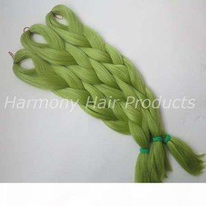 L Kanekalon Jumbo Braiding Hair 24inch Folded 80grams Solid Light Olive Green Color Xpression Synthetic Braids Hair Extension T0445