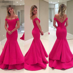 Elegant Fuchsia Cheap Mermaid Pink Evening Dresses v neck Off Shoulder Ruched Satin Simple Long Prom Sexy Backless Wears Robe De Soiree