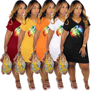 Lèvres imprimés Femmes Robes mode V cou à manches courtes Robes d'été Femmes Designer Solid Color Robes