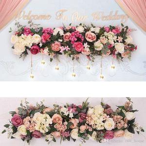 Künstliche Bogen Blume Reihe Silk Rosen-Blumen-Reihe DIY Hochzeit Straße Führer Bogen Dekoration Blumen-Mittel Hochzeit Dekorative Kulisse