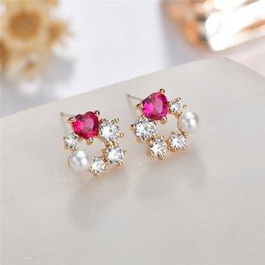 Love 5 # rot Korund mit eingelegtem Perle Zirkon-Mix Ohrringe Sterling Silber Ohrringe Korean süße Blumenohrring-Bolzen