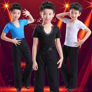 2018 Preto Azul Branco Latina dança prática meninos dancewear latino camisas calças meninos salsa trajes de dança Samba Cha Cha