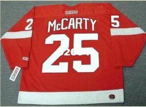 Uomo # 25 DARREN McCARTY Detroit Red Wings 2002 CCM Vintage RETRO Home Hockey Jersey o personalizzato qualsiasi nome o numero Retro Jersey