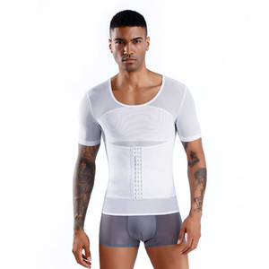 New Men's Body Shapers Mesh Fitness Tops Elastic Tight Fitting Shaper Undershirts T-shirts Abdomen Slimming Underwear Corset