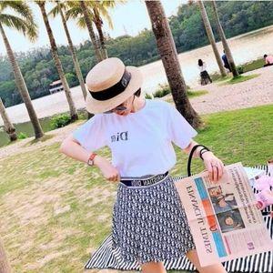 T-shirt Mulher 2020 + saia plissada de alta qualidade moda feminina s roupas 2 set pedaço terno verão das mulheres