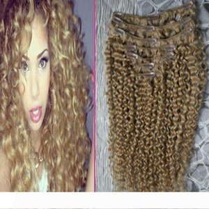 Brazilian virgin hair honey blonde Kinky Clip ins 100g 7pcs Brazilian Kinky Curly Clip In Human Hair Extensions