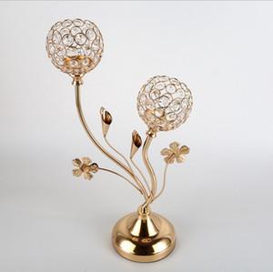 centros de mesa de cristal de la boda velas Candeleros soporte de flor soportes para velas de metal artesanía de cristal 2 cabezas huecas candelabros de velas