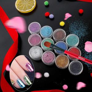 BearPaw 16colors 1 bouteille Laser Shinning pigment Nail Art Glitter poudre Conseils pour la décoration Art Nail Craft Salon du corps polonais