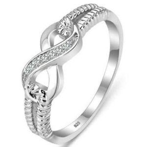 Марка Ленточные кольца Подлинная 925 стерлингового серебра ювелирные изделия дизайнерского бренда Кольца для женщин Свадьба Lady Инфинити Бесплатная доставка